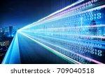 highway flyover with binary... | Shutterstock . vector #709040518