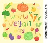 world vegan day vegetables set... | Shutterstock .eps vector #709058578