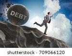businessman in debt loan... | Shutterstock . vector #709066120