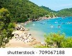 beautiful sea landscape in quy... | Shutterstock . vector #709067188