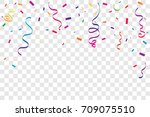 colorful confetti and ribbon... | Shutterstock .eps vector #709075510