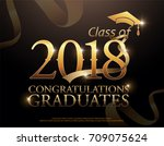 class of 2018 congratulations... | Shutterstock .eps vector #709075624
