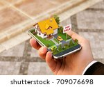 smartphone application for... | Shutterstock . vector #709076698