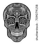 tattoo skull  black and white... | Shutterstock . vector #709079158