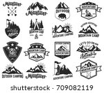 set of camping emblems isolated ... | Shutterstock .eps vector #709082119