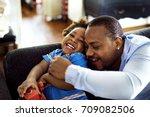 black father enjoy precious... | Shutterstock . vector #709082506