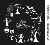 halloween border design vector... | Shutterstock .eps vector #709085203