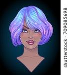 cosplay style. attractive girl... | Shutterstock .eps vector #709085698