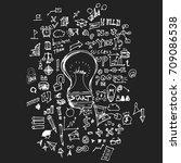 business doodles sketch vector... | Shutterstock .eps vector #709086538