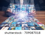 video hosting website. movie... | Shutterstock . vector #709087018