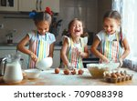 happy sisters children girls... | Shutterstock . vector #709088398