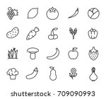 premium set of fruit and... | Shutterstock .eps vector #709090993