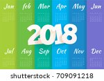 2018 calendar template.stylish... | Shutterstock .eps vector #709091218