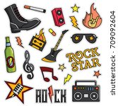 vintage 80s 90s rock and roll... | Shutterstock .eps vector #709092604