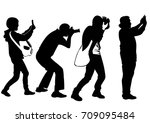 silhouettes of people... | Shutterstock .eps vector #709095484