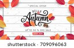 autumn sale background layout... | Shutterstock .eps vector #709096063