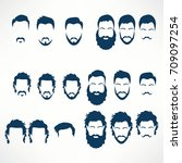 hipster vector set  hair and... | Shutterstock .eps vector #709097254
