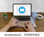 mail communication connection... | Shutterstock . vector #709099360