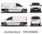 realistic cargo van. front view ... | Shutterstock .eps vector #709100848