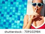 keep secret  gossip girl.... | Shutterstock . vector #709102984