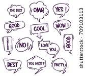 cartoon comic bubble  speech... | Shutterstock .eps vector #709103113