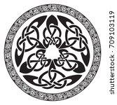 round celtic design  isolated... | Shutterstock .eps vector #709103119