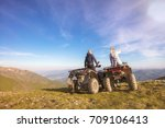 rear view of young pair near... | Shutterstock . vector #709106413