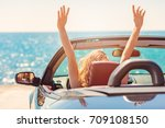happy and carefree woman in the ... | Shutterstock . vector #709108150