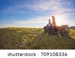 couple driving off road with... | Shutterstock . vector #709108336