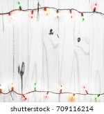 christmas lights on white... | Shutterstock . vector #709116214