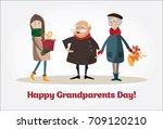 happy grandparents day.vector... | Shutterstock .eps vector #709120210