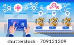smart industry 4.0 infographic. ... | Shutterstock .eps vector #709121209