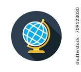 globe icon in flat style with... | Shutterstock .eps vector #709123030