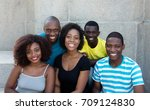 group of five african american... | Shutterstock . vector #709124830