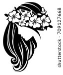 vector girl with flowers icon.... | Shutterstock .eps vector #709127668