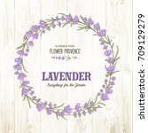 the lavender circle frame with... | Shutterstock .eps vector #709129279