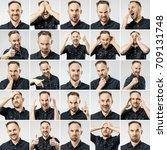 set of handsome emotional man... | Shutterstock . vector #709131748