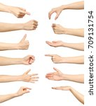 female hand gestures and signs... | Shutterstock . vector #709131754