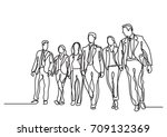 one line drawing of business... | Shutterstock .eps vector #709132369