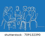 one line drawing of group of... | Shutterstock .eps vector #709132390