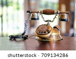 old fashioned telephone on... | Shutterstock . vector #709134286