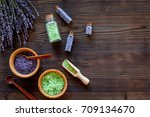 home spa with lavender herbs... | Shutterstock . vector #709134670