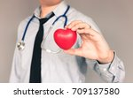 doctor with casual wear and... | Shutterstock . vector #709137580