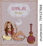 hookah lounge. vintage card... | Shutterstock .eps vector #709137868