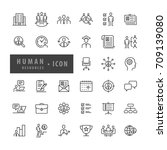 human resources icons set ... | Shutterstock .eps vector #709139080
