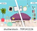 living room furniture before... | Shutterstock .eps vector #709141126