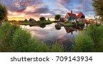 panorama landscape windmills on ... | Shutterstock . vector #709143934