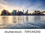 manhattan skyilne  new york... | Shutterstock . vector #709144240