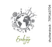 ecology concept. hand drawn... | Shutterstock .eps vector #709163704