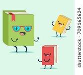 cute book cartoon character in... | Shutterstock .eps vector #709165624